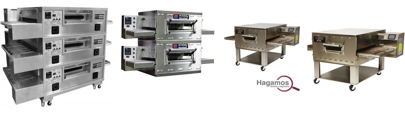 hornos para pizza con banda transportadora, hornos de cinta transportadora, hornos con linea de producción