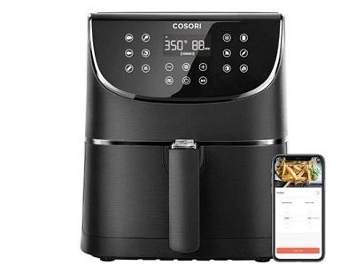 COSORI Smart WiFi Air Fryer 5.8QT(100 recetas), pantalla táctil digital con 11 preajustes de cocción para freír, asar y mantener caliente, precalentar y agitar recordatorios, funciona con Alexa & Google Assistant, 1700W